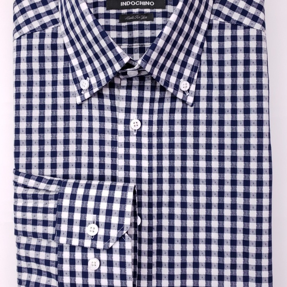 Indochino Other - Indochino Shirt Blue Checked 14.5 Slim Fit Tall Lo
